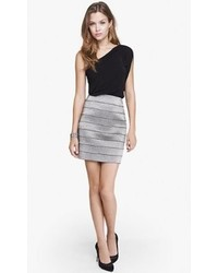 Express Metallic Elastic Stripe Mini Skirt