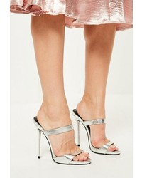 Missguided Silver Barely There Heeled Mules