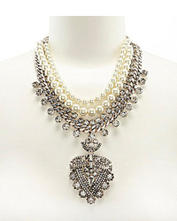 Belle Badgley Mischka Rhinestone Faux Pearl Pendant Statet Necklace