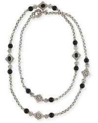Konstantino Carved Sterling Silver Black Onyx Station Necklace 36l