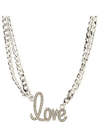 Charlotte Russe Rhinestone Love Double Chain Necklace