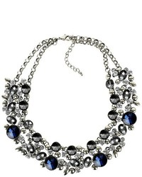 Collar Necklace With Stones Silver And Blue