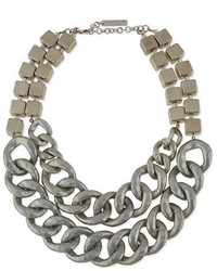 Lafayette 148 New York Double Chain Block Necklace Silvertone
