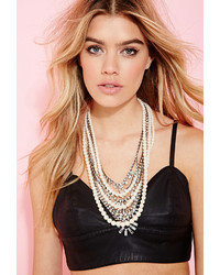 Forever 21 Faux Pearl Rhinestone Necklace