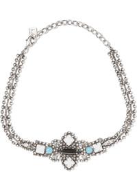 Dannijo Glorenza Oxidized Silver Plated Swarovski Crystal Choker One Size