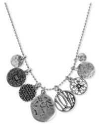 Lucky Brand Necklace Silver Tone Short Charm Necklace