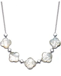 Macy's Sterling Silver Necklace Mother Of Pearl Clover Frontal Necklace