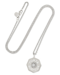 Marlo Laz Mini Coin 14 Karat White Gold Enamel And Diamond Necklace