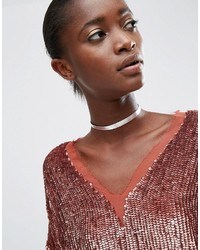 Asos Mini Sleek Metallic Choker Necklace