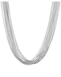 Nine West Silver Tone Multi Chain Necklace