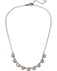 Bottega Veneta Oxidized Silver Cubic Zirconia Necklace One Size