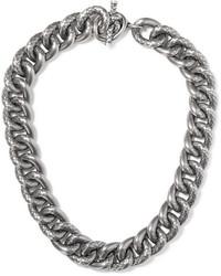 Bottega Veneta Oxidized Silver Necklace One Size
