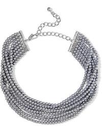 Kenneth Jay Lane Rhodium Plated Faux Pearl Choker Silver