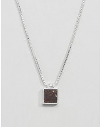 Pilgrim Silver Plated Necklace With Brown Gem Stone