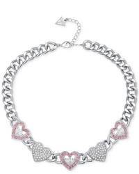 GUESS Silver Tone Crystal Logo Multi Heart Collar Necklace