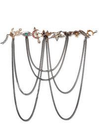 Alexander McQueen Silver Tone Multi Stone Necklace