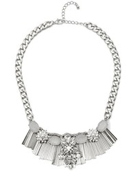 GUESS Silver Tone Rhinestone And Fringe Statet Necklace