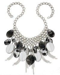 Style&co. Necklace Silver Tone Black Multi Bead And Chain Fringe Frontal Necklace