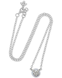 Carolina Bucci Superstellar 18 Karat White Gold Pearl And Diamond Necklace