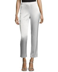 St. John Collection Liquid Satin Cropped Pants Silver