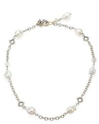 John Hardy Legends Naga 11 12mm White Baroque Pearl Moonstone Sterling Silver Station Necklace