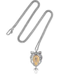 Alexander McQueen Palladium Tone Pearl Necklace Silver