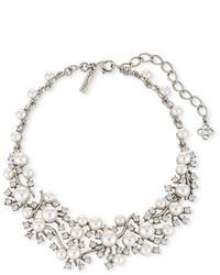 Oscar de la Renta Scattered Pearly Bead Crystal Collar Necklace