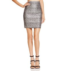 Aqua Metallic Splatter Print Pencil Skirt