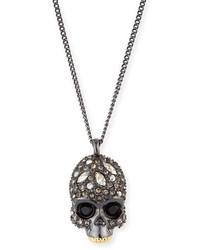 Alexis Bittar Crystal Encrusted Skull Pendant Necklace