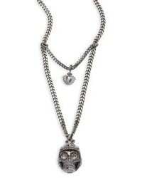 Alexander McQueen Armour Skull Pendant Necklace