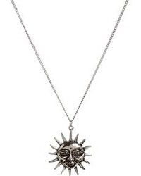 Asos Sun Pendant Long Necklace Silver