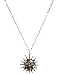 Asos Sun Pendant Long Necklace Silver