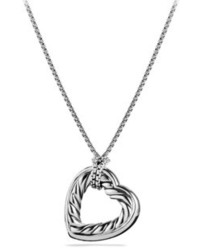 David Yurman Cable Heart Large Pendant With Gold On Chain