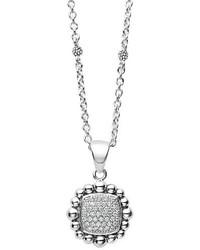 Lagos Caviar Spark Square Diamond Pendant Necklace