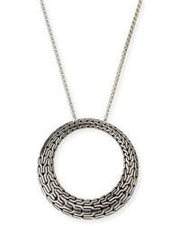 John Hardy Classic Chain Silver Large Round Pendant Necklace 36