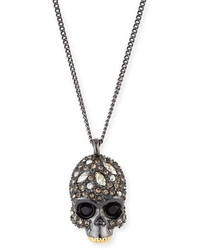 Alexis Bittar Crystal Encrusted Skull Pendant Necklace