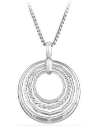 David Yurman Stax Round Pendant Necklace With Diamonds