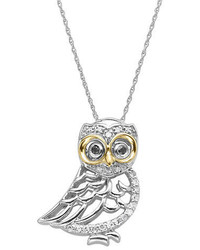 Lord & Taylor Diamond Owl Pendant In Sterling Silver With 14 Kt Yellow Gold