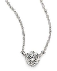 Kwiat Diamond Platinum Medium Solitaire Pendant Necklace