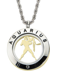 Fine Jewelry Aquarius Zodiac Reversible Two Tone Stainless Steel Locket Pendant Necklace
