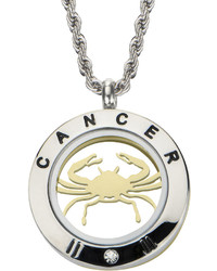Fine Jewelry Cancer Zodiac Reversible Two Tone Stainless Steel Locket Pendant Necklace