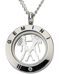 jcpenney Fine Jewelry Gemini Zodiac Cubic Zirconia Stainless Steel Locket Pendant Necklace