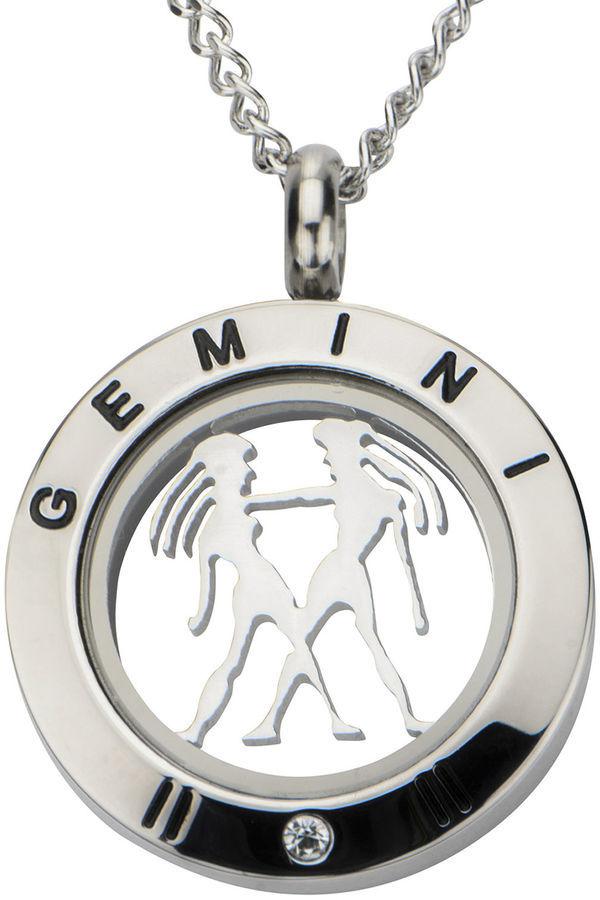jcpenney Fine Jewelry Gemini Zodiac Cubic Zirconia Stainless Steel Locket Pendant Necklace