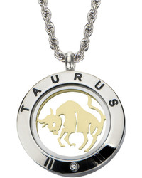 Fine Jewelry Taurus Zodiac Reversible Two Tone Stainless Steel Locket Pendant Necklace