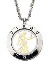 Fine Jewelry Virgo Zodiac Reversible Two Tone Stainless Steel Locket Pendant Necklace