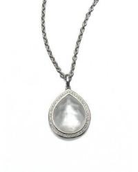 Ippolita Stella Mother Of Pearl Clear Quartz Diamond Sterling Silver Teardrop Doublet Pendant Necklac
