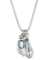 Mother of Pearl Lonna Lilly Silver Tone Owl And Pendant Necklace
