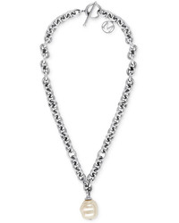 Majorica Stainless Steel Chain And Man Made Pearl Pendant Necklace