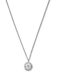 Michael Kors Michl Kors Logo Etch Disc Pendant Necklace Silver Color
