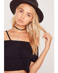 Missguided Charm Detail Layered Choker Necklace Pack Silver